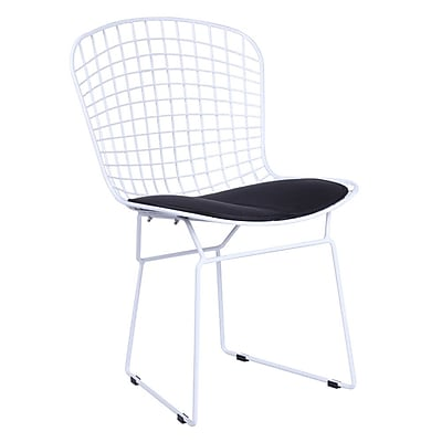 Fine Mod Imports White Wire Side Chair, Black (FMI10159-black)