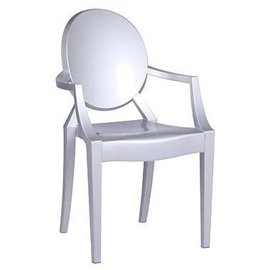 Fine Mod Imports Clear Arm Chair, Silver (FMI1130-silver)