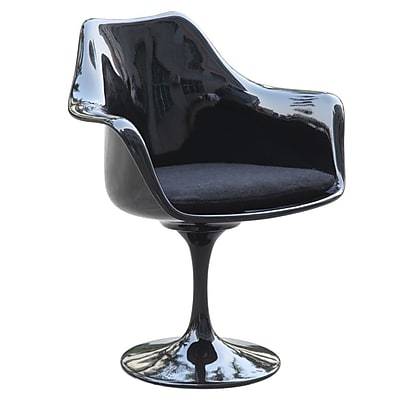 Fine Mod Imports Flower Arm Chair, Black (FMI1133-black)