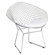 Fine Mod Imports Wire Diamond Chair, White (FMI1157-white)