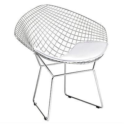 Fine Mod Imports Wire Diamond Chair, White (FMI1157-white)
