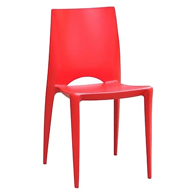 Fine Mod Imports Square Dining Chair, Red (FMI2015-red)