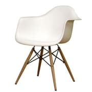 Fine Mod Imports WoodLeg Dining Arm Chair, White (FMI4012-white)