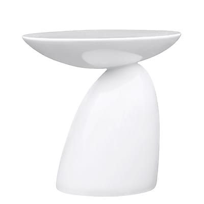 Fine Mod Imports Oval End Side Table, White (FMI1145-white)
