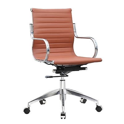 Fine Mod Imports Twist Office Chair Mid Back, Light Brown (FMI10226-light brown)
