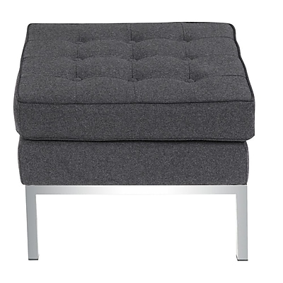 Fine Mod Imports Button Ottoman in Wool, Gray (FMI10045-gray)