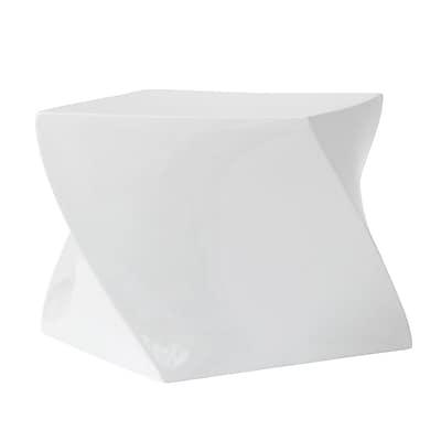 Fine Mod Imports Cube Ottoman, White (FMI1148-white)