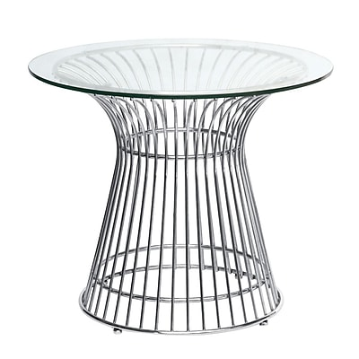 Fine Mod Imports Wire Side Table, Glass (FMI10081-glass)