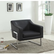 BestMasterFurniture Modern Club Chair w/ Chrome Legs; Black