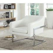 BestMasterFurniture Modern Club Chair w/ Chrome Legs; White