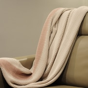 Pink Lemonade Marici Throw Blanket; Off White / Pink