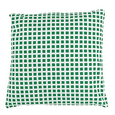 Antique Reproductions Checkered 100pct Cotton Pillow Cover; Green
