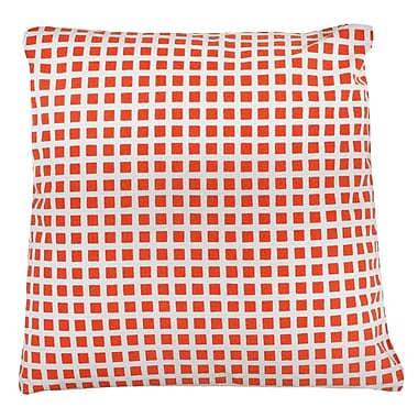 Antique Reproductions Checkered 100pct Cotton Pillow Cover; Orange