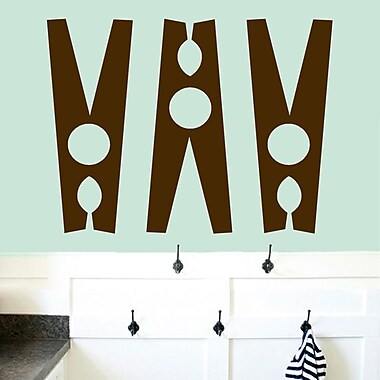SweetumsWallDecals Clothes Pin Wall Decal (Set of 3); Brown