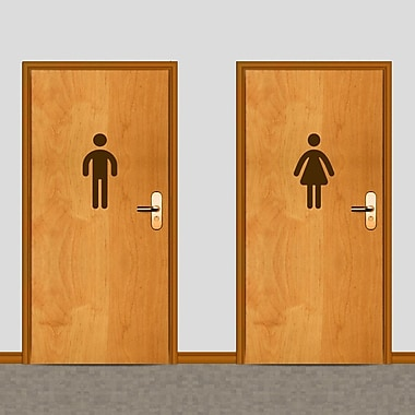 SweetumsWallDecals Men's and Women's Restroom Wall Decal; Brown