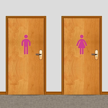 SweetumsWallDecals Men's and Women's Restroom Wall Decal; Hot Pink