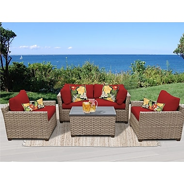 TK Classics Monterey 5 Piece Deep Seating Group w/ Cushion; Terracotta