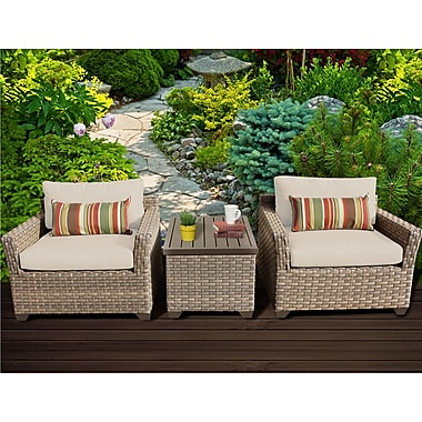 TK Classics Monterey 3 Piece Lounge Seating Group w/ Cushion; Beige
