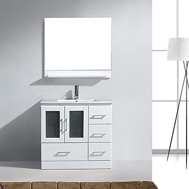 Virtu Zola Series 36'' Single Bathroom Vanity Set w/ Mirror; White