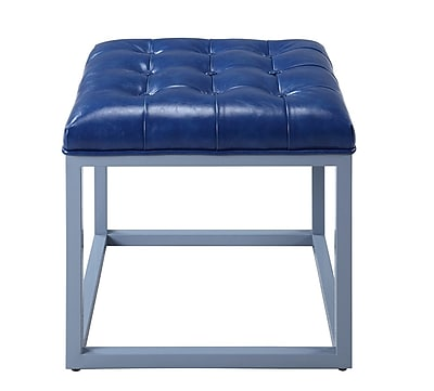 Iconic Home Newman Ottoman; Blue WYF078279012057