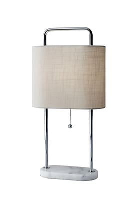 Adesso Avery Tall Table Lamp, Chrome/White (6441-02)