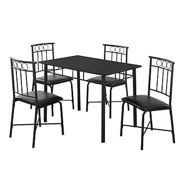 Monarch I 1018 Dining Set, 5-Piece Set, Black Metal