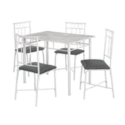 Monarch I 1030 Dining Set, 5-Piece Set, White Marble/Metal