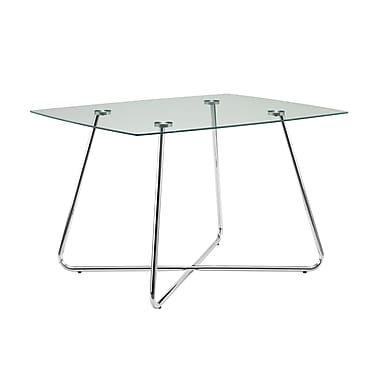 Monarch – Table de salle à manger I 1069, 36 x 48 po, chrome et verre trempé de 8 mm