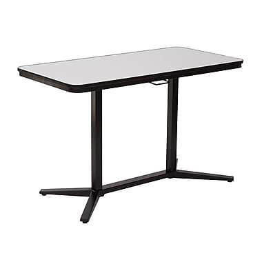 Office Star Pneumatic Height Adjustable White Dry-Erase Top Table, Black Steel Frame, (PHT70523)