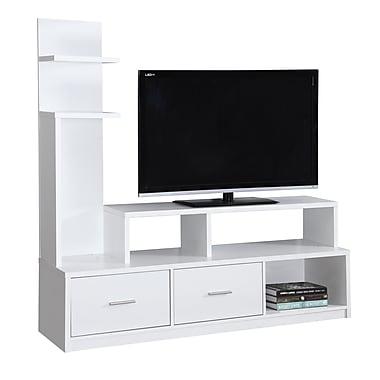 Monarch – Meuble pour téléviseur I 2697, 60 long. (po), blanc avec une tour présentoir