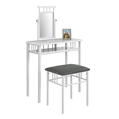 Monarch I 3082 Vanity Set, 2-Piece Set, White Marble/Metal