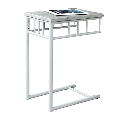Monarch I 3083 Accent Table, White Marble, White Metal