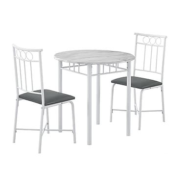 Monarch I 3085 Dining Set, 3-Piece Set, White Marble/Metal