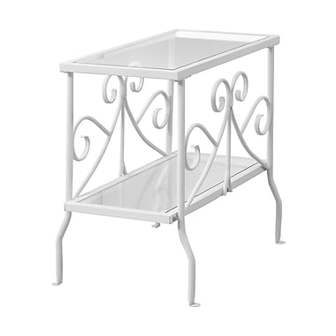 Monarch I 3105 Accent Table, White Metal with Tempered Glass
