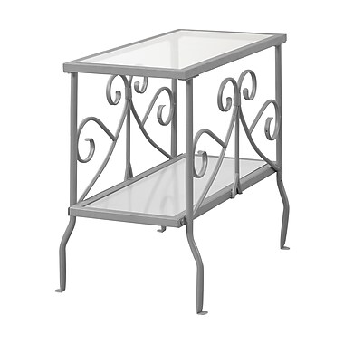 Monarch I 3106 Accent Table, Silver Metal with Tempered Glass