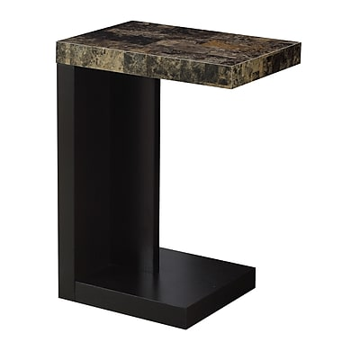 Monarch I 3212 Accent Table, Cappuccino, Marble-Look Top