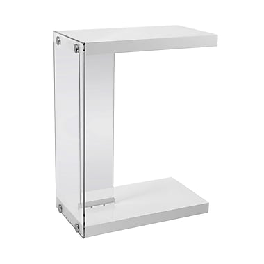 Monarch I 3215 Accent Table, Glossy White with Tempered Glass