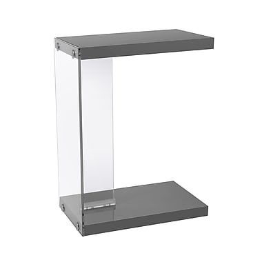 Monarch I 3216 Accent Table, Glossy Grey with Tempered Glass