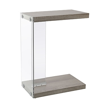 Monarch I 3217 Accent Table, Dark Taupe with Tempered Glass