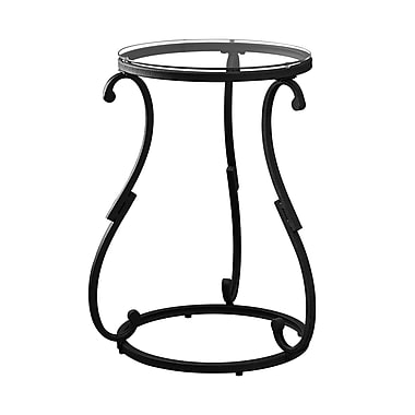 Monarch I 3330 Accent Table, Hammered Black Metal with Tempered Glass