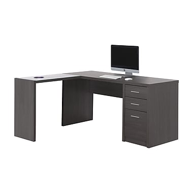 Monarch I 7139 Computer Desk, Grey Corner with Tempered Glass