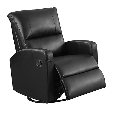 Monarch I 8084BK Recliner, Swivel Glider, Black Bonded Leather
