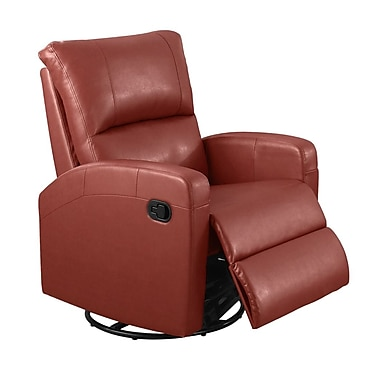 Monarch I 8084RD Recliner, Swivel Glider, Red Bonded Leather