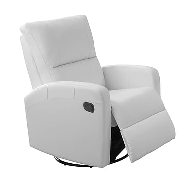 Monarch I 8084WH Recliner, Swivel Glider, White Bonded Leather