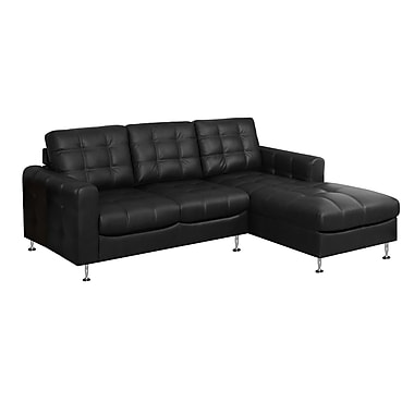 Monarch I 8380BK Sofa Lounger, Black Bonded Leather