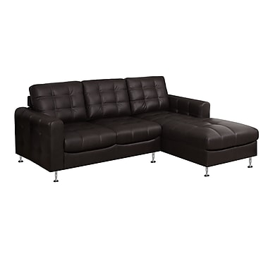 Monarch I 8380BR Sofa Lounger, Dark Brown Bonded Leather