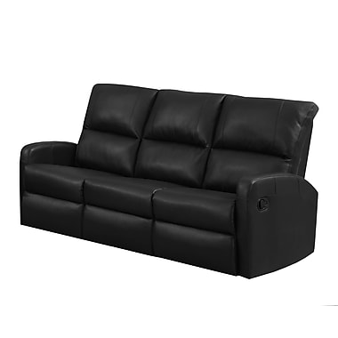 Monarch I 84BK-3 Reclining, Black Bonded Leather Sofa