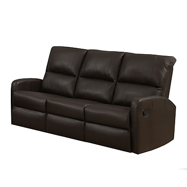 Monarch I 84BR-3 Reclining, Dark Brown Bonded Leather Sofa