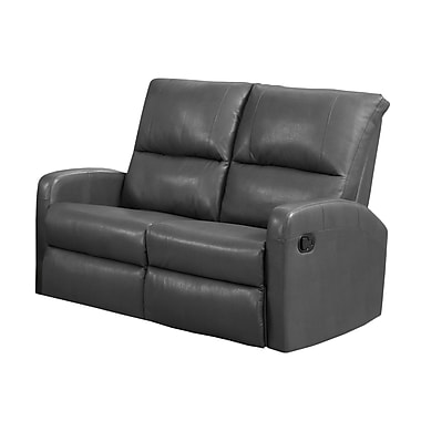 Monarch I 84GY-2 Reclining, Charcoal Grey Bonded Leather Love Seat