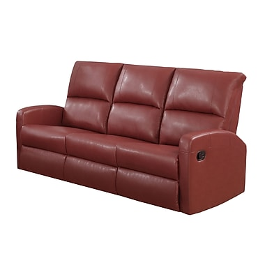 Monarch I 84RD-3 Reclining, Red Bonded Leather Sofa